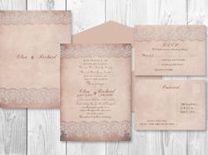 PRINTABLE WEDDING INVITATION sets Rustic Dusty rose by ABandIG, $35.00