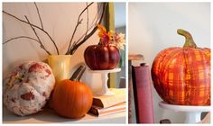 fall mantle inspiration w/ mod podge pumpkins from lisa leonard designs