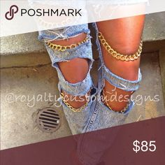 Distressed Gold chained jeans Jeans distressed with gold chains added TEXT 773 939 4129 WITH THE TYPE OF JEANS YOU NEED YOU MAY REQUEST ANY JEAN ANY SIZE AND COLOR Pants Skinny
