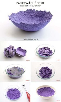 No Glue Papier Maché Bowl Made out of Just Egg Cartons and Water