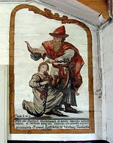 """""""Samuel anoints David"""" by  Mikael Toppelius (b. 10 August 1734) a Finnish church painter. During his career, he made more than thirty church paintings in Ostrobothnia and Northern Savo. Toppelius was the grandfather of Sakari (Zacharias) Topelius (a Swedish-speaking Finnish author, journalist, historian, and rector of the University of Helsinki)."""