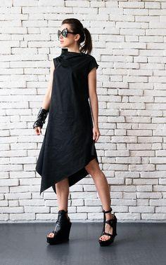 Loose Abito tunica nera/abito nero asimmetrico/abito senza