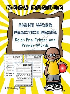 """Dolch Bundle of Pre-Primer and Primer Sight Word Packet - Get my most popular sight word packet for free in this giveaway and leave feedback on my store or products to receive """"flash freebies"""" to my customers. This packet has 92 pages of useful sight word worksheets as your students trace, color, find and write sentences. Good luck!.  A GIVEAWAY promotion for Sight Word Practice Packet BUNDLE, Dolch Pre-Primer and Primer Words from Kimberly's Kindergarten on TeachersNotebook.com (ends on ..."""