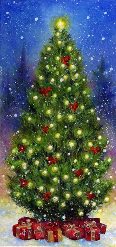 Jim Mitchell ~ Cheerfully Decorated Christmas Tree With Loads Of Presents For You And Me. Modern Christmas Cards, Christmas Scenes, Christmas Past, Christmas Images, Christmas Snowman, Christmas Tree Painting, Christmas Drawing, Jim Mitchell, Winter Wallpaper