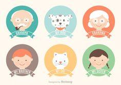 Las etiquetas de dibujos animados Family miembros Vector Gratis