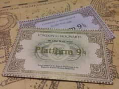 Harry Potter Hogwarts Express Ticket.  Each printed ticket is roughly 11x6cm & 220gsm. I tried to keep it as close to the movie as possible. Happy to make different sizes, colours, & customize text if required (free atm), just ask.  The Flawed option is 2 imperfect tickets for the price of one. Flaws are usually small imperfections in the foil transfer or other small issues, nothing too bad.  Made and posted within 24 hours.  Any questions please dont hesitate to ask.  :)