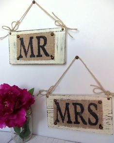 Burlap on wood Mr. and Mrs. sign, love the twine hangers