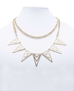Double Chain Triangle Pendants Necklace. I'm wearing this right now!