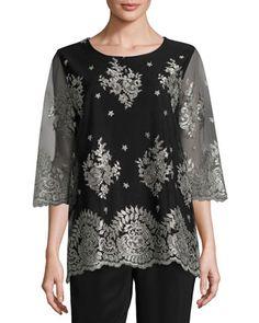 b3e5a7af5bb Caroline Rose Luxury Lace 3/4-Sleeve Tunic, Plus Size. Caroline RoseScallop TopLace  TunicLace SleevesNeiman MarcusLacerTunicsBoat NeckPetite