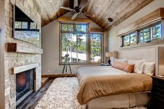A collection of interior designs featuring 19 Magical Rustic Bedroom Interior Designs That Will Relax You. Bedroom With Bath, Home Bedroom, Master Bedroom, Bedrooms, White Wood Paneling, Small Bedroom Organization, Rustic Room, Modern Bedroom Design, Bedroom Designs