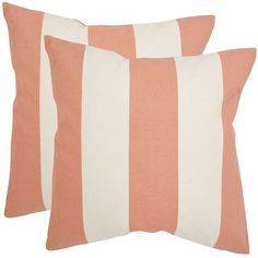 Safavieh Sally Pillow - Peach, Set Of 2 ($78) ❤ liked on Polyvore featuring home, home decor, throw pillows, safavieh, striped throw pillows, safavieh throw pillows, peach throw pillows and stripe throw pillows