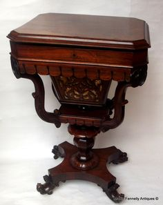 Rosewood Ladies Desk-Sewing Table - Rosewood - Circa 1830 - This is a pretty piece of furniture - Read more on The Website http://www.fennelly.net/Antiques/Newest%20Listings%20-%20Art%20and%20Antique%20Gallery%20Dublin/977%20Rosewood%20Ladies%20Desk-Sewing%20Table%20-%20Rosewood%20-%20Circa%201830.aspx