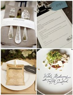 Creative Menus, love the last pic with the menu on the plate