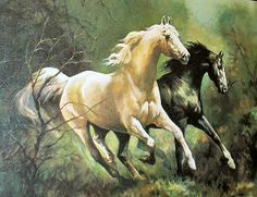 MIDNIGHT AND MOON BEAM PAINTING   Horses Running Vintage Oil Painting Artist P Fullerton Midnight and ...