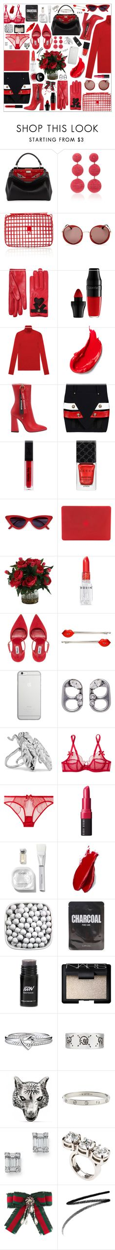 """Red Hot"" by cherieaustin ❤ liked on Polyvore featuring Fendi, Rebecca de Ravenel, Anndra Neen, Kate Spade, Gucci, Lancôme, Estée Lauder, Havva, Anthony Vaccarello and Tucano"