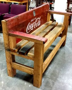 Awesome Upcycled Coca Cola Bench made from the from a vintage cooler and reclaimed wood! Vintage Coca Cola, Vintage Cooler, Coca Cola Decor, Coca Cola Kitchen, Cocoa Cola, Always Coca Cola, World Of Coca Cola, Vintage Design, Pepsi