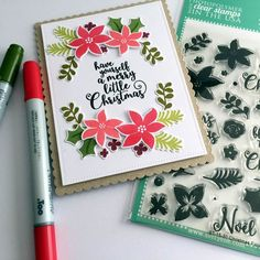 "Avery Elle Christmas Florals Clear Stamp Set 4""X6"""
