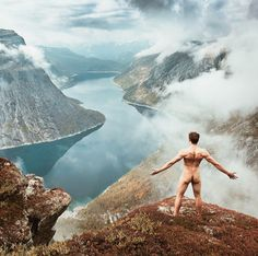 Naked on a mountain once in life
