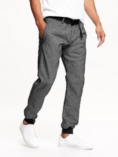 Textured Twill Joggers for Men