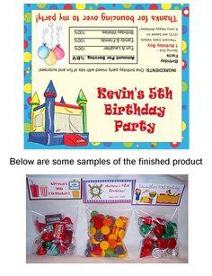 Bounce House Moonwalk Inflatable Birthday Party Bag Toppers Favors-bounce,house,moonwalk,inflatable,  birthday,personalized,party,bag,  toppers,loot,bags,Festivity Favors,bounce house party bag toppers