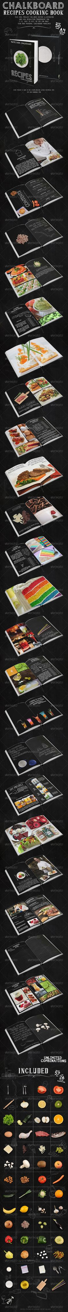 Chalkboard Recipes Cooking Book, #layout #recipes #indesign #template #cookbook #chalkboard