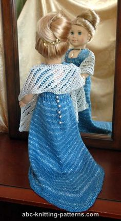 ABC Knitting Patterns - American Girl Doll Lace Wrap/Stole. Knitted Doll Patterns, Knitted Dolls, Doll Clothes Patterns, Crochet Dolls, Knitting Patterns, Crochet Pattern, My Life Doll Clothes, American Girl Crochet, American Doll Clothes