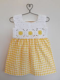 Buy Yellow White Check printed Dress with Crochet Yoke Blended Cotton Knitting Kids Dresses/Jumpsuits Fun in the Sun dresses details for Online at Jaypore.com