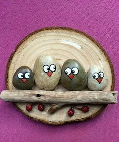 Sassi uccelli su fetta di legno