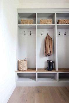 Built-in lockers in this cute mudroom #mudrooms #interiordesign #mudroomideas