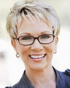 short haircuts for older women wearing glasses - Google Search