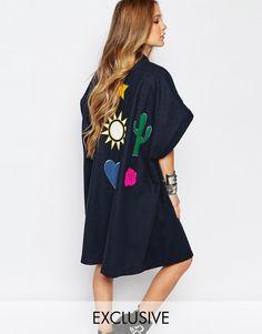 Image 1 - Reclaimed Vintage - Kimono oversize style festival avec empiècements…