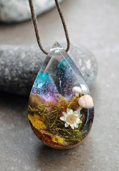 Resin Wood Necklace Terrarium Necklace Quartz crystal