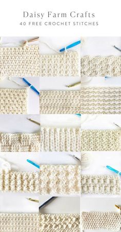 40 free crochet stitches from daisy farm crafts crafts crochet daisy farm free stitches Learn how to crochet the knit stitch successfully in this step-by-step video tutorial. The knit stitch (AKA the waistcoat or center single crochet stitch) can be Crochet Daisy, Easy Crochet, Free Crochet, Crochet Stitches Patterns, Knitting Stitches, Stitch Patterns, Different Crochet Stitches, Crochet Stitches For Blankets, Crochet Crafts