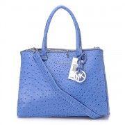 Buy Michael Kors Bedford Ostrich Satchel Blue  http://www.bagonred.com/