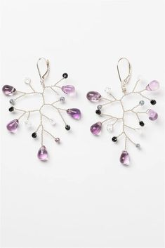 Shimmering lightweight sterling silver branch earrings dripping with amethyst, freshwater pearls, and black spinel gemstones. These will absolutely shimmer and catch the light and become a staple statement piece.  Handcrafted nature inspired jewelry by J'Adorn Designs artisan Alison Jefferies.  #februarybirthstone #februraryjewelry #gemstoneearrings #amethystearrings Custom Jewelry, Modern Jewelry, Jewelry Shop, Fall Wardrobe Essentials, Summer Wardrobe, Black Spinel, Gemstone Earrings, Handcrafted Jewelry, Types Of Gems