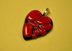 Black and red fused glass heart pendant by janesglassart on Etsy, $16.00