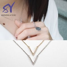 V Shape 925 Real Silver Wedding Jewelry Jewellery Necklace for Women