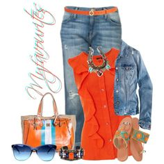 Denim and Orange Streetstyle, created by myfavourites on Polyvore