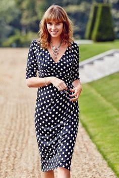 Crêpe-Jersey-Kleid mit Punktmuster