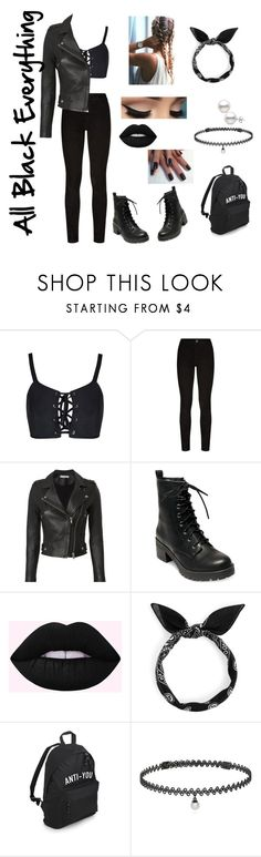 """All Black Everything"" by beauty55 ❤ liked on Polyvore featuring Paige Denim, IRO, Madden Girl and BERRICLE"