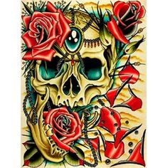 Petals By Tyler Bredeweg Skull Jewels Roses Tattoo Canvas Art Print