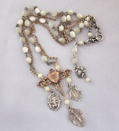 Religious Charm Necklace, Repurposed Necklace, Vintage Rosary Beads, Sterling Silver, Gold Filled, Religious Medals, OOAK Assemblage Jewelry