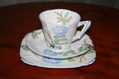 RARE Royal Albert Crown China Art Deco Hydrangea Cup Saucer Dessert Plate Trio