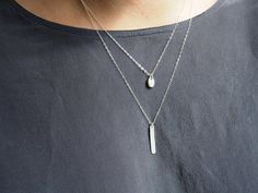Set Of 2 Sterling Silver Necklaces, Layered Necklaces, Silver Vertical Bar Necklace, Tiny Pebble Necklace, Initial Necklace / 01 11062 S3