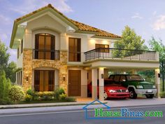 Modern Two Storey House Design With Floor Plan With Elevation Two Story House Design, 2 Storey House Design, Duplex House Design, Small House Design, Modern House Design, Modern House Plans, House Floor Plans, Philippines House Design, Two Storey House Plans