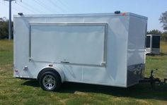 new tailgate trailer. prefect for tailgating at titans, vandy or ut 2015 6x12 vnose 4x8 shadow box will hold upto a 70 tv 30 amp electrical system coax cable hookup side door alumnium radial wheels...