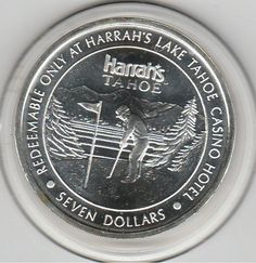 1993 Harrah's Casino Hotel Lake Tahoe, NV 0.6 troy ounces .999 Fine Silver Token Golfer LM Mint by VintageCasinoTokens on Etsy