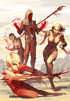 Blood Mages Hawke and Merrill fight along side Fenris and Isabella. Dragon Age 2. ~DA2: Lust for blood by NanoeTetsu on deviantart