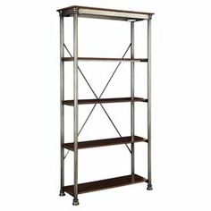 """4-shelf metal etagere with a birch-finished top and x-crossed back.  Product: EtagereConstruction Material: Metal and birch veneersColor: Birch and silver  Features: Four shelvesDimensions: 76"""" H x 38"""" W x 16"""" D"""