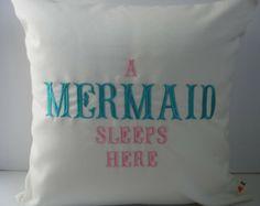 Sunbrella Pillow 18 x 18, Beach Decor, Decorative Pillow, Indoor/Outdoor Pillow, A Mermaid Sleeps Here Custom Embroidered Pillow Cover